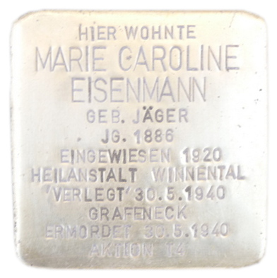 Kissinger Straße 30, Stolperstein verlegt am 15. April 2013.